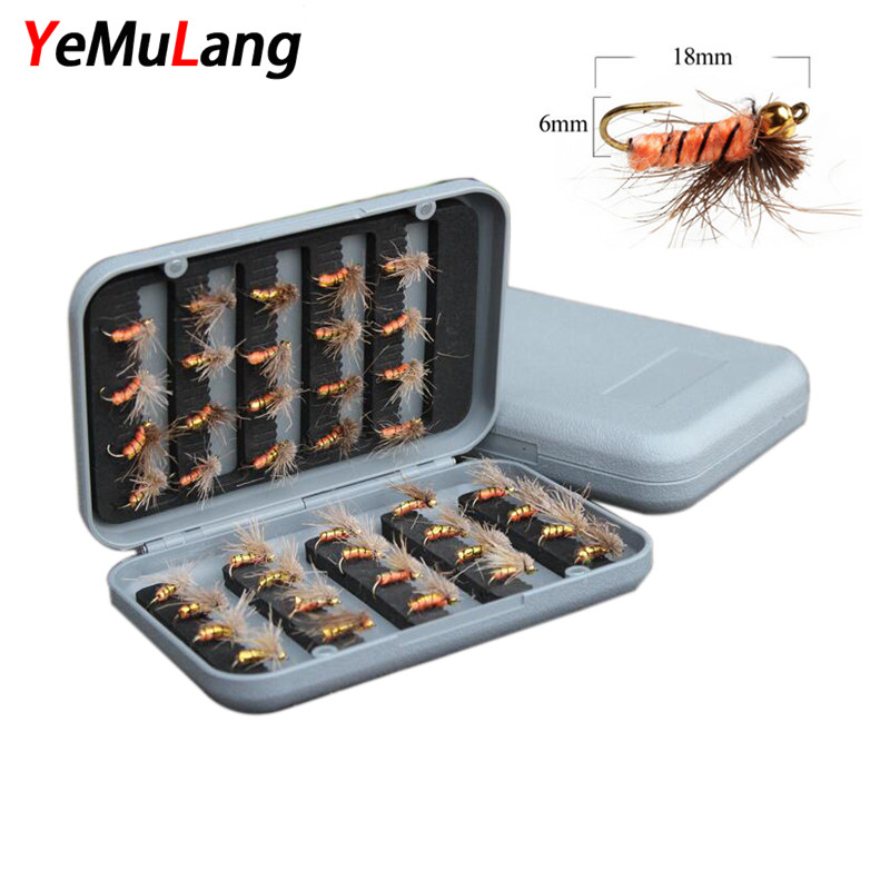YeMuLang 40piece/box Dry and Wet Fly Fishing Lure Flies Hard Bait Simulation Moth Insect With Feather Fishing Hooks For Fishing portable 2 layers many compartments visible pvc fishing lure bait hooks fish tackle box accessory storage box case fishing tool