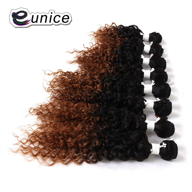 EUNICE Hair Extensions Kinky Curly Sew in Weave Synthetic Hair Wefts Two Tone Color 8-14inch Ombre Hair Weave Bundles 1PACK