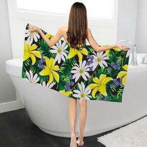 Прямоугольная купальная Ванна полотенце листья цветочный узор Печатный микрофибра купальный костюм одеяло для душа полотенце пляжное Пик...