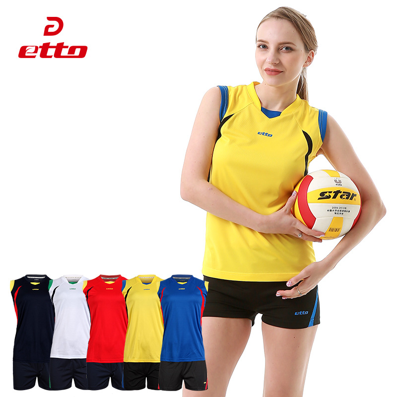 Etto Women Professional Volleyball Uniforms Set Breathable Quick Dry Volleyball Jersey Shorts Kits Female Sportswear HXB017