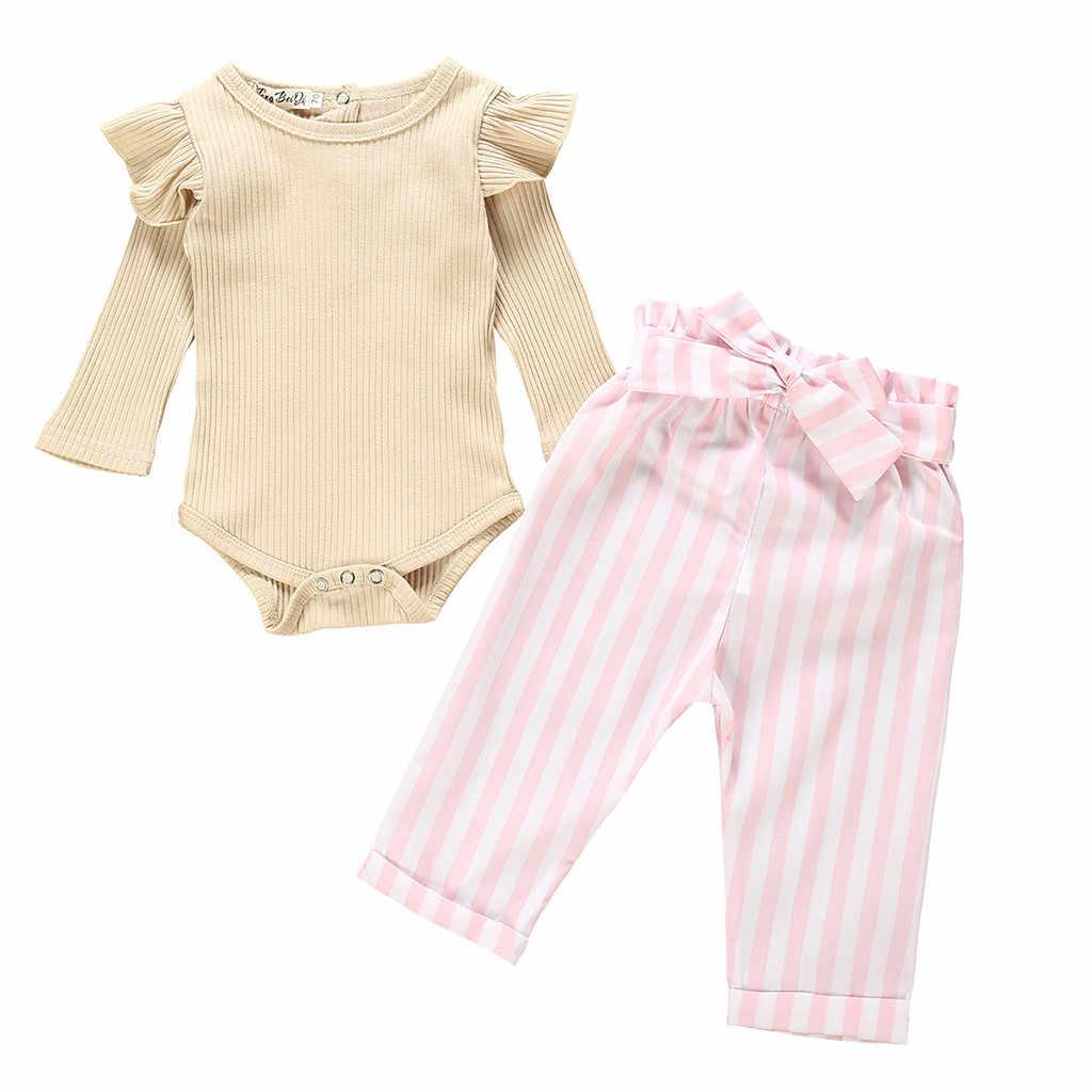 2 Stuks Pasgeboren Romper Baby Meisjes Jongens Kleding Katoen Romper Shirt Broek Outfit Set Klassieke Streep Pasgeboren Kinderen kleding