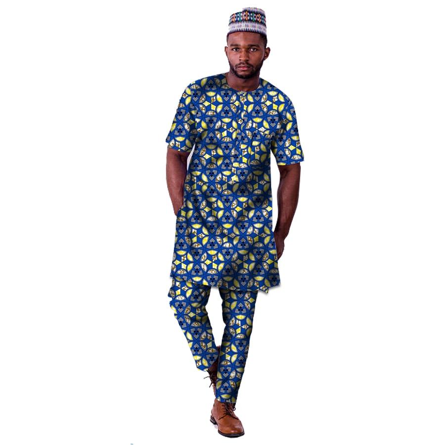 Mode Afrikaanse Print Kleding Mannen Tops + Broek Set Lange Shirts En - Traditionele kleding
