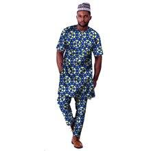 الأزياء الأفريقية طباعة ملابس الرجال قمم + بنطلون مجموعة قمصان طويلة و السراويل احتفالية زي أفريقيا نمط الرجال الملابس تخصيص