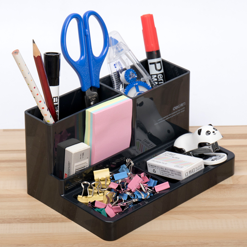 9115 Plastic Modern Pen Holder Student Stationery Box Office School Supplies Pen Pencil Box Jewelry Makeup Holder Case Organizer big capacity high quality canvas shark double layers pen pencil holder makeup case bag for school student with combination coded lock