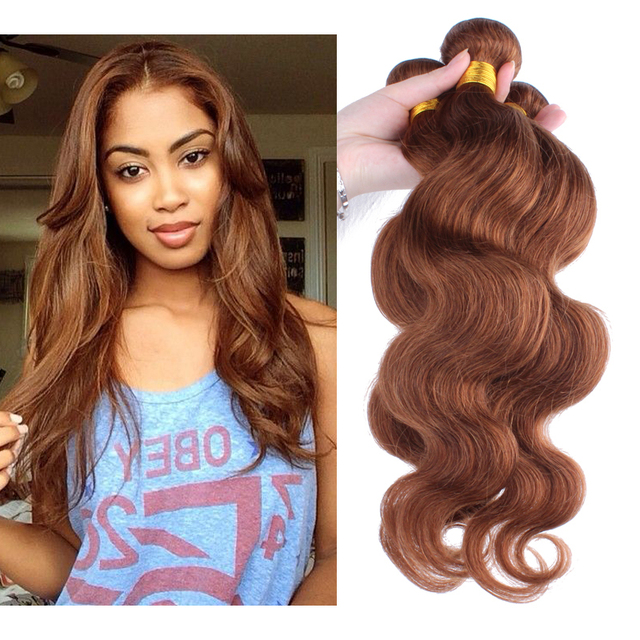 Colorful Hair Extensions Peruvian Virgin Hair Body Wave #30 Honey Brown 3PCS/Lot Human Hair Weaves Sunny Queen Hair Products