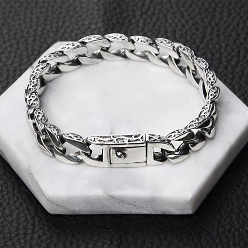 10mm Wide Men Bracelet Pure 100 925 Sterling Silver Male Buckle Clip Bracelet Thai Silver Vintage