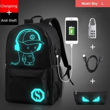 Fashion Nachtleuchtende Cartoon männer Rucksack Teenager Schule Nachtbeleuchtung Taschen mit freies USB + Federbeutel + Diebstahl Schloss rucksack