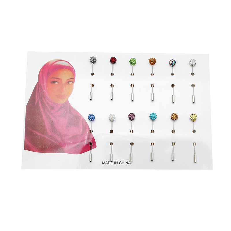 Pin For Women Safety Scarf Pin with pin cover New Hijab Pins Wholesale 12pcs Muslim Hijab Brooches womens brooches