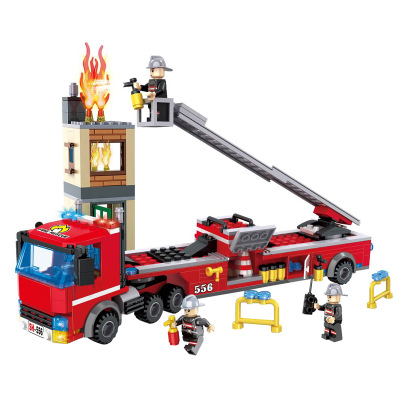 HSANHE City Series Rescue Ladder Fire Truck Building Blocks Sets Bricks Classic Model Kids Toys Gifts Marvel Compatible Legoings hot city fire rescue ladder engine truck building block fireman figures bricks educational toys for children gifts