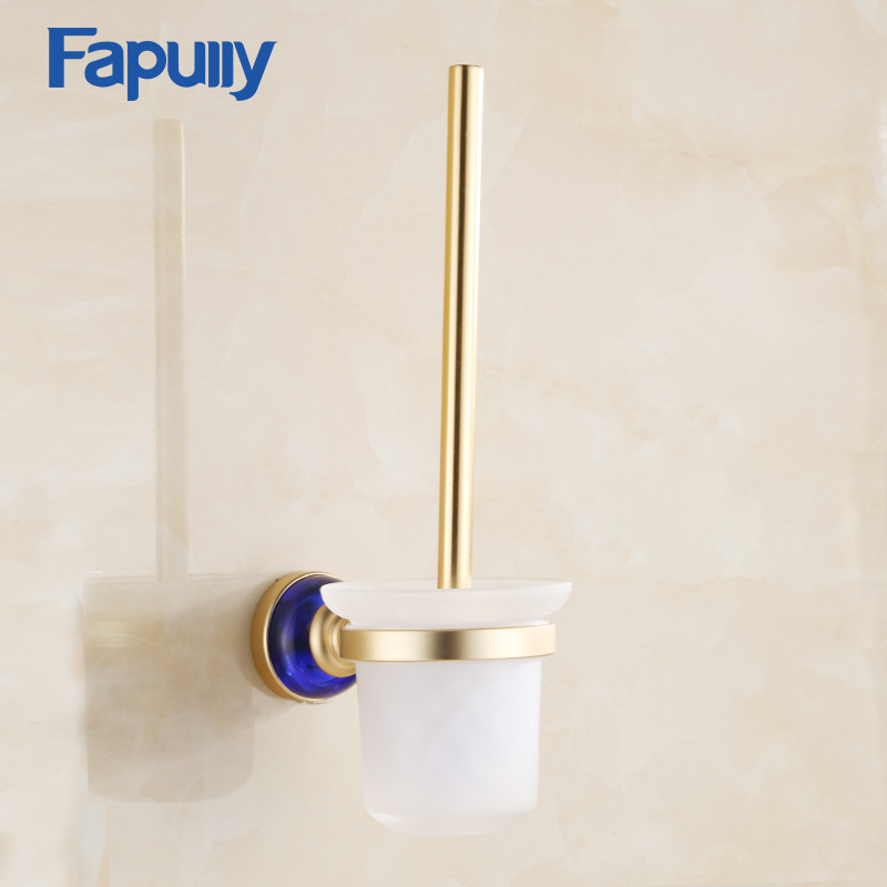 Fapully Bathroom Blue Crystal Toilet Brush Holder Gold Plated Toilet brush Aluminum Bathroom Accessories все цены