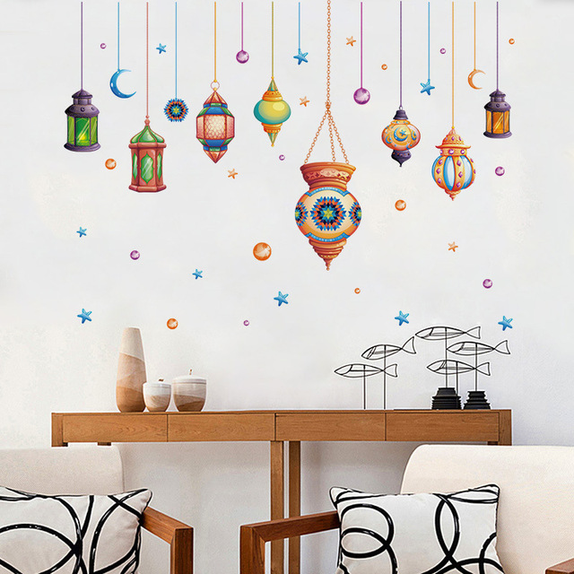 Hanging Lamp Wall Sticker: Lantern Wall Stickers Lights Wallpaper Pendent Lamps Paper