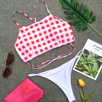 2018 Red Plaid Swimwear Push Up Bikini Set Women Sexy String Thong High Neck 2 Pieces Swimsuit Padded Bra Backless Bathing Suit femme en soutien gorge rouge