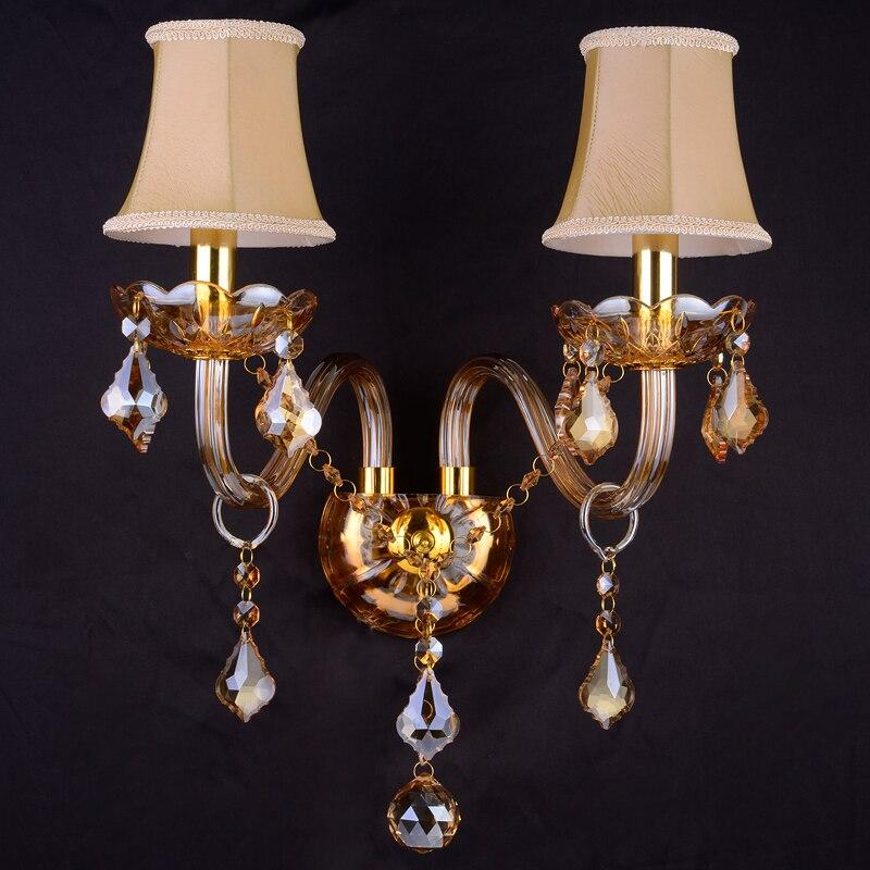 Европейский кристалл настенный светильник высокого класса люкс гостиная бра прикроватные свечи комната спальня Champagne Gold Кристалл Бра