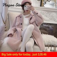 Faux Fur Coat Pink Fur Coat Single Breasted Furry Coat Harajuku Wide-waisted Pink Fur Jacket Warm Coat Women Clothing 2018 faux fur double breasted coat
