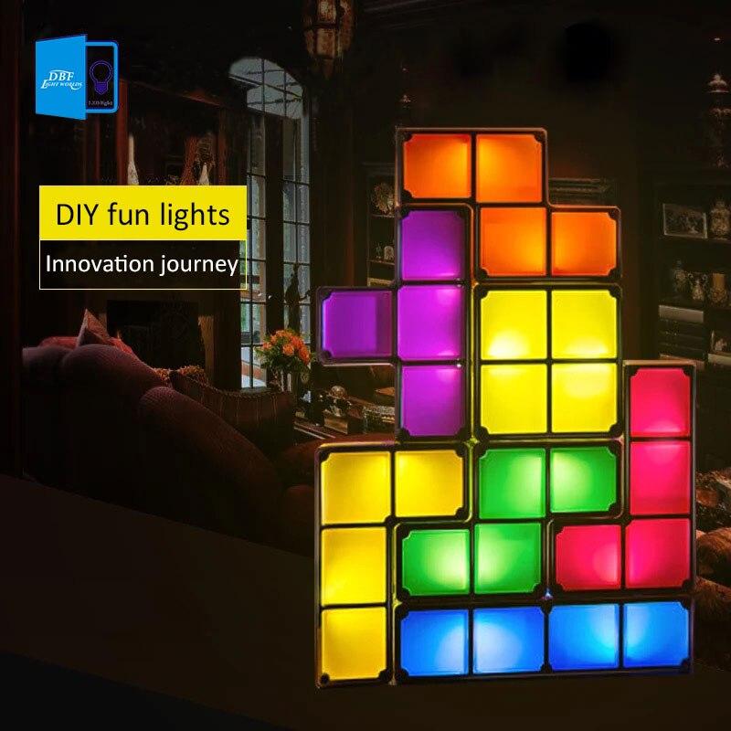 7 farben DIY Tetris Puzzle Licht Stapelbar FÜHRTE Schreibtisch Lampe Constructible Block Nacht Licht Retro Spiel Turm Baby Bunte Ziegel spielzeug