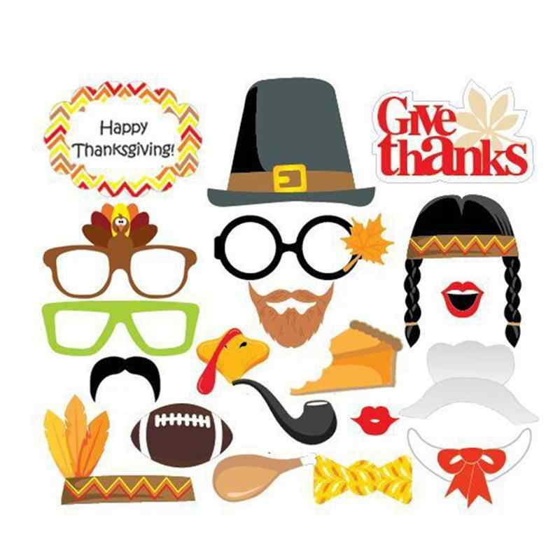 20 Pcs Pesta Thanksgiving Dekorasi Photo Booth Alat Peraga Foto DIY Kit