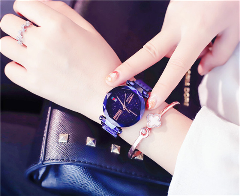 Luxury Rose Gold Women Watches Minimalism Starry sky Magnet Wrist Watches For Ladies Fashion Casual Female Wristwatch Waterproof (11)