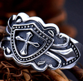 Open Size S925 Solid Thai Silver Cross Ring Female 100% Real 925 Sterling Silver Rings for Men Boy Jewelry HR14