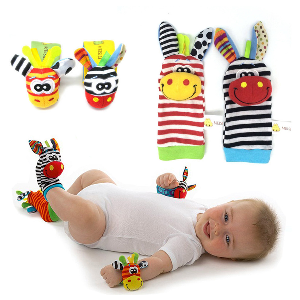 Soft Animal Socks Baby Toys Wrist Bell Bands Sound Hand Foot Bell Pet Socks Attention Baby Kids Intellectual Development Toys
