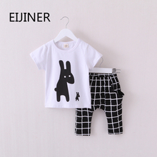 hot deal buy 2016 new summer boys clothes rabbit children clothes for boys toddler baby boys clothing set short sleeve t shirts+ plaid pant