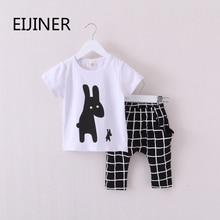 2016 New Summer Boys Clothes Rabbit Children Clothes for Boys Toddler Baby Boys Clothing Set Short Sleeve T Shirts+ Plaid Pant стоимость