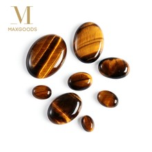 1 Pcs Yellow Tiger Eye Cabochon Bead Natural Stone No Hole Fit DIY Handicrafts Jewelry Women Men Ring Making DIY Accessories(China)