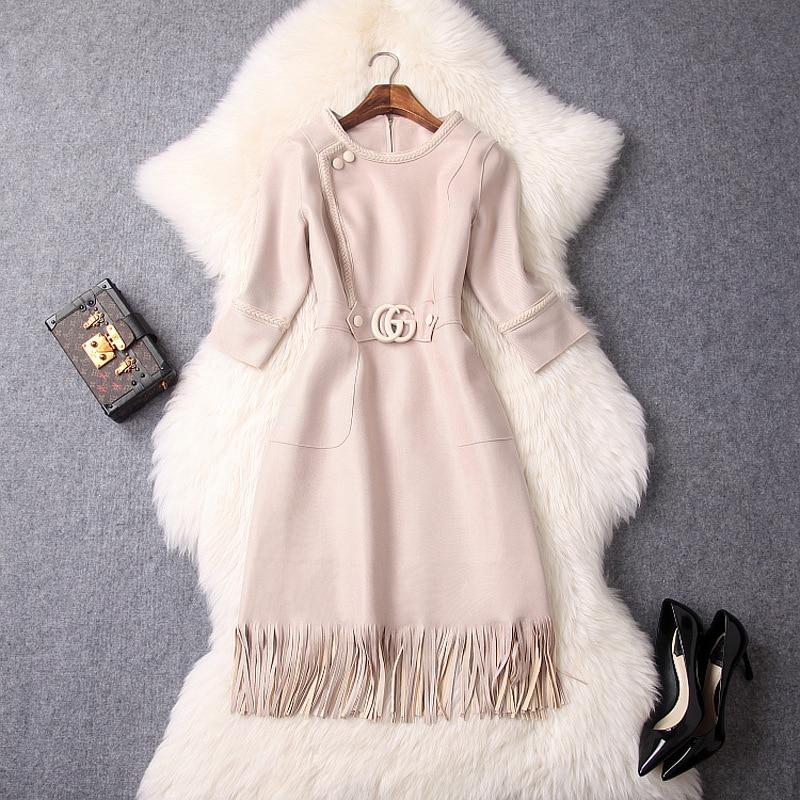 Suede Dress 2018 Autumn Women's New Round Neck Half Sleeve High Waist Tassels Solid Color Elegant OL Dresses Knee Length S XL