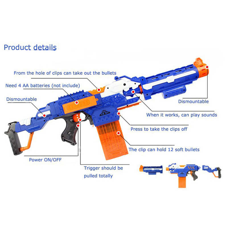 الإلكترونية Submachine مسدس لعبة دعوى ل NERF رصاصة طرية بندقية منافس النخبة سلسلة في الهواء الطلق متعة و لعب رياضية هدية للأطفال الأولاد