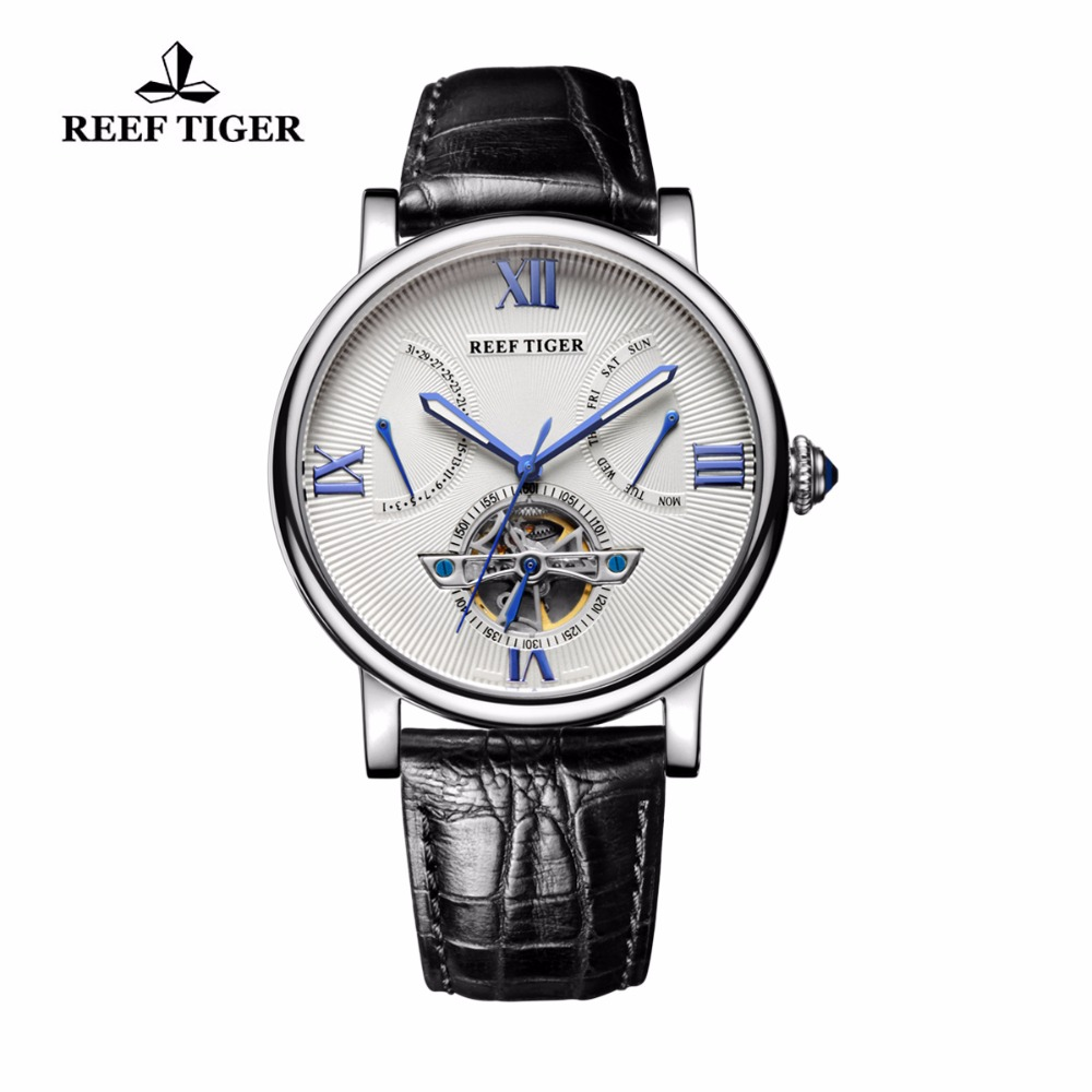 Reef Tiger/RT Designer Tourbillon Watches Men's Luminous Automatic Watch with Date Day Genuine Leather Watches RGA191 вьетнамки reef day prints palm real teal