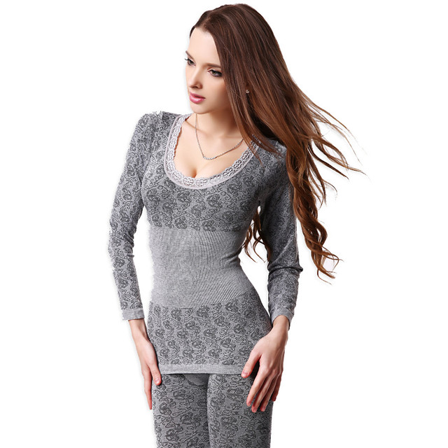 a63a81b655d5 € 9.57 11% de DESCUENTO|Mujeres túnica invierno ropa interior térmica moda  sin costuras transpirable cálido largo Johns señoras 2016 nuevos ...