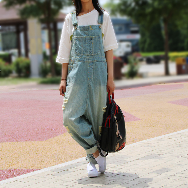 Buy Casual Loose Plus Size Denim Overalls Women Ripped Jean Jumpsuit