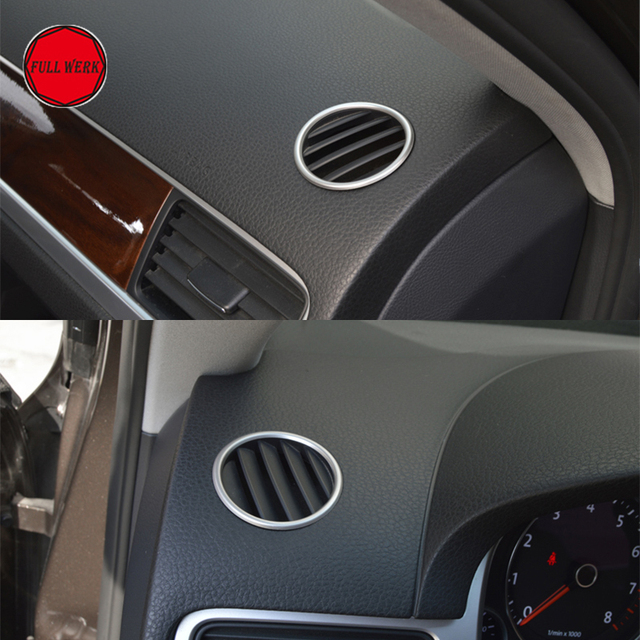 2pc Car Styling Dashboard Upper Air Vent Outlet Trim for VW Volkswagen Touareg 2011-2018 Decoration Cover Sticker Accessories