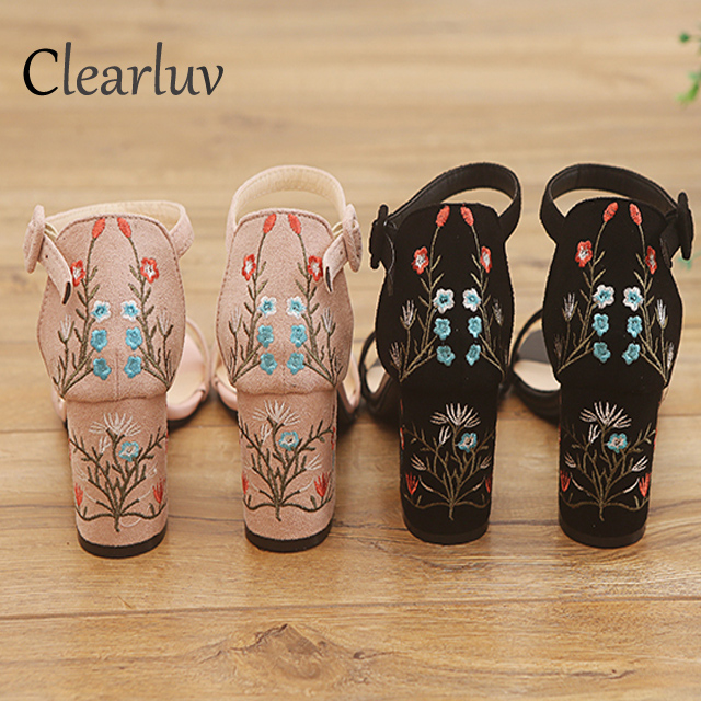 New High-heeled Roman Sandal Embroidered Thick With Sandals Buckle With A Large Size 34-40 Women's Banquet Party Shoes Women 7cm