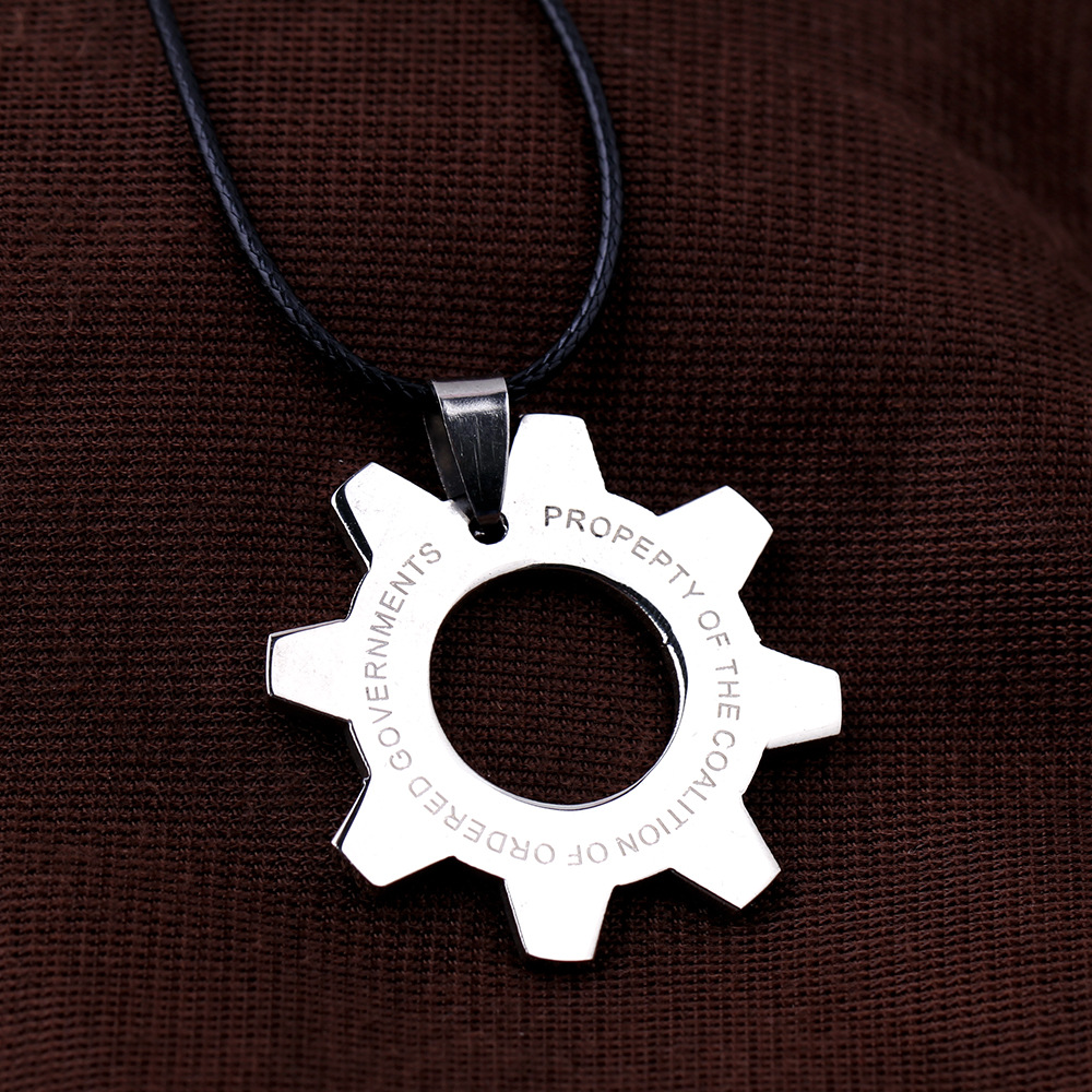 Top quality game jewlery Gears of war pendant silver machinery stainless steel unisex trendy necklace for kids gift