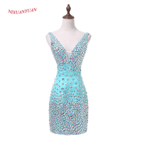 NIXUANYUAN 2017 New Custom Made Mint Satin Cocktail Dress 2017 Deep V Neck Sexy Party Dress Short Crystal vestidos de cocktail