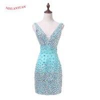Nixuanyuan Новинка 2017 года индивидуальный заказ мята атласной коктейльное платье 2017 глубокий v образным вырезом пикантные вечерние платье Корот