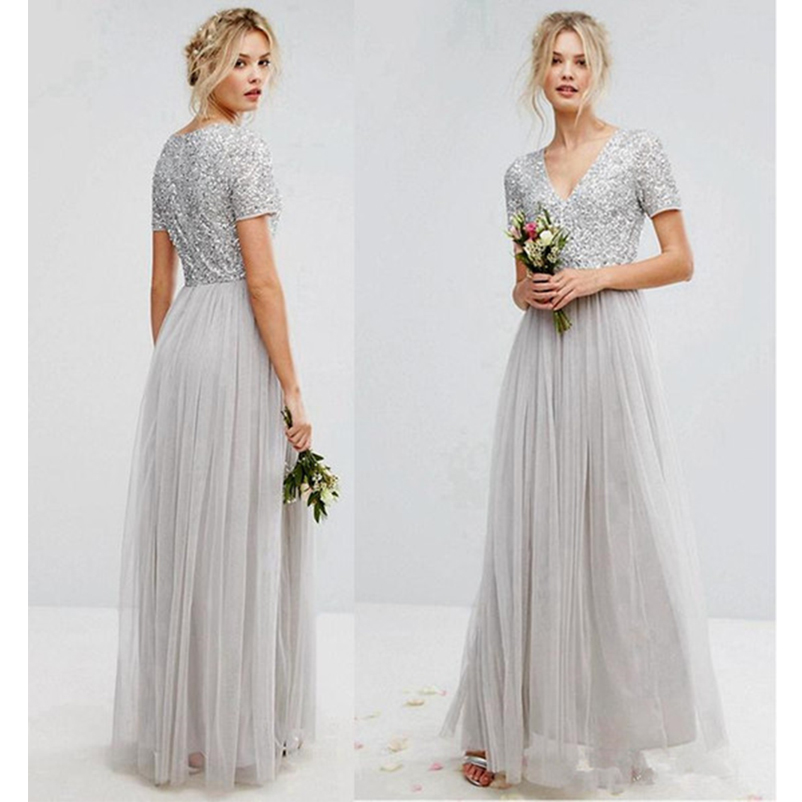 9c6a0b050b7d3 Sequins Top Bridesmaid Dresses 2018 Sliver Short Sleeve V Neck Pleated Tulle  A Line Maid Of Honor Pregnant Dress Floor Length-in Bridesmaid Dresses from  ...