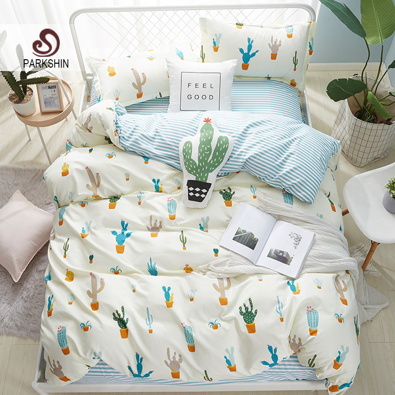 ParkShin Cactus Pattern Fresh Style Bedding Set Simple Home Textiles Duvet Cover Set Flat Bed Sheet Quilt Cover Bed Linen Set