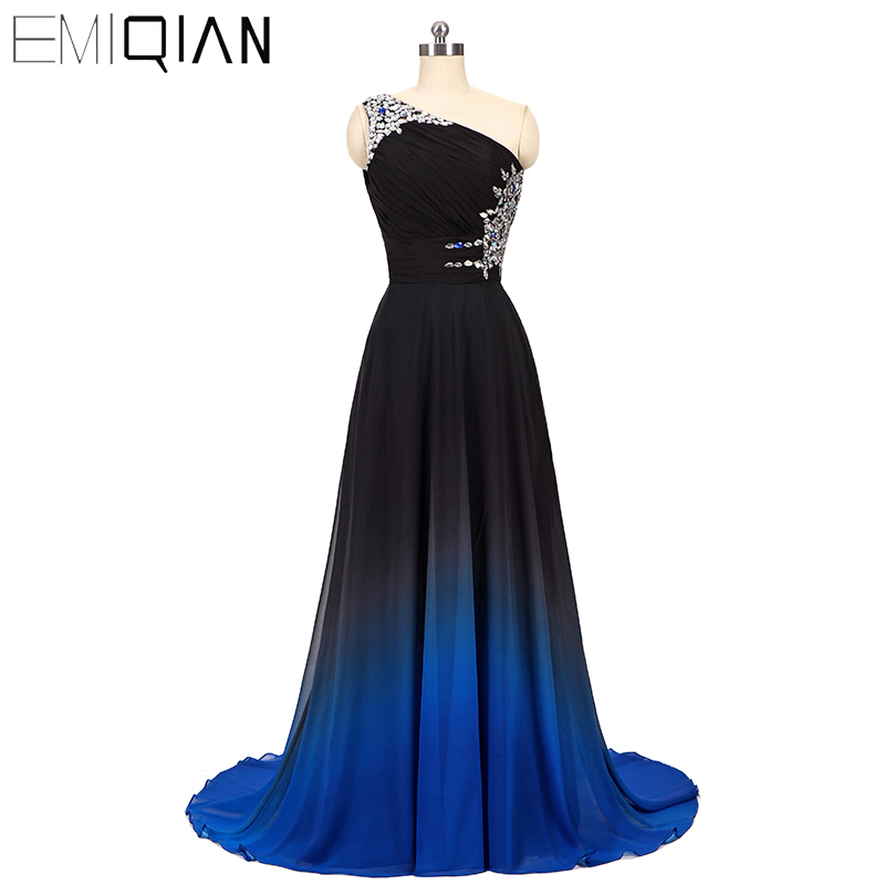 Designer Gradient Chiffon Long   Prom     Dress   NEW One Shoulder A Line Formal Party   Dress