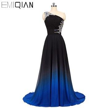 Designer Gradient Chiffon Prom Dress, One Shoulder Prom Dress,A Line Formal Party Dress