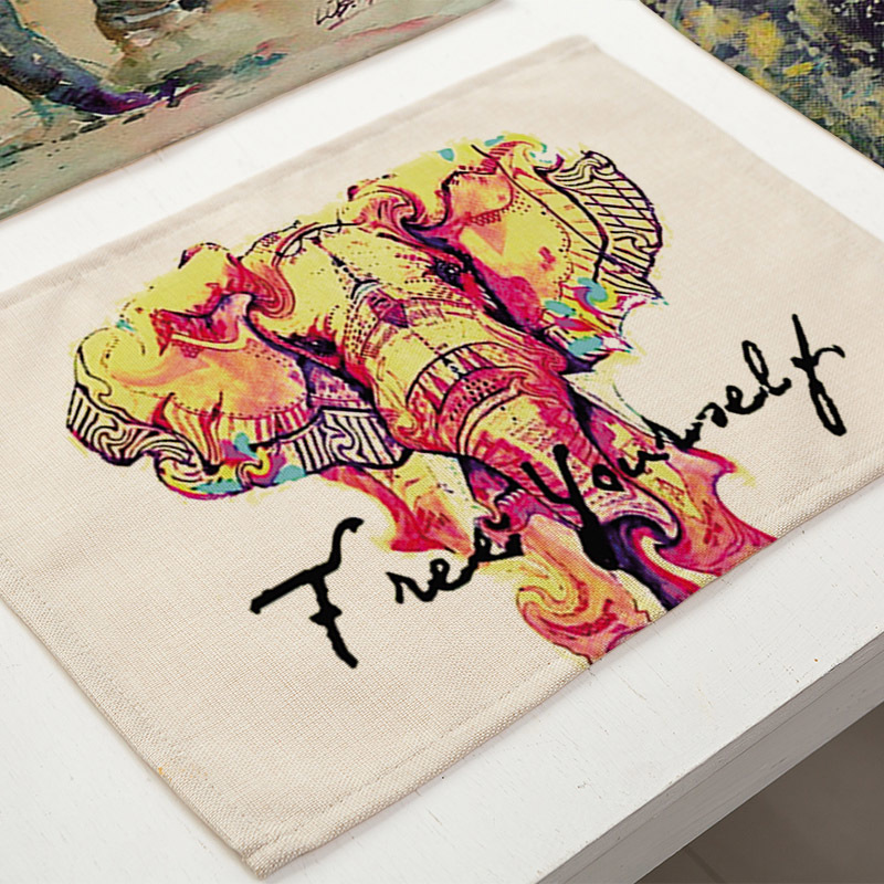 Colored Elephant Printing Table Placemat Cotton Linen Dining Table Mat Heat Insulation Pad Home Art Decorations