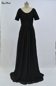Cheap Scoop Lace Top Long Chiffon Beach 2018 Bridesmaid Dresses Short Sleeves A Line Straps Chiffon Maid Of Honor Gowns
