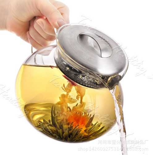 1200ml Handmade Teapot With Filter Heat Resistant Glass Tea Pot Infuser Stainless Steel Kettle Wholesale Tea