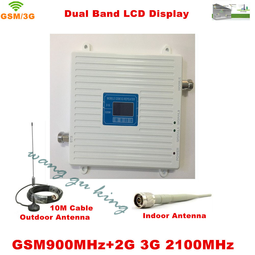 LCD Display !!! GSM 900Mhz W-CDMA UMTS 2100MHz Dual Band Cell Phone Signal Booster 2G 3G Signal Repeater with Antenna Full Set