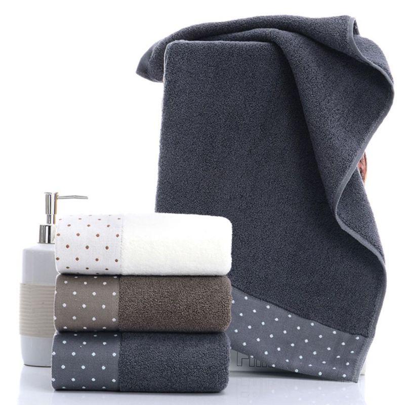 100% Cotone Assorbente del Modello di Puntino di Colore Solido Morbida E Confortevole Delle Donne Degli Uomini di Bagno A Mano Viaggio Viso Asciugamano 2 pz