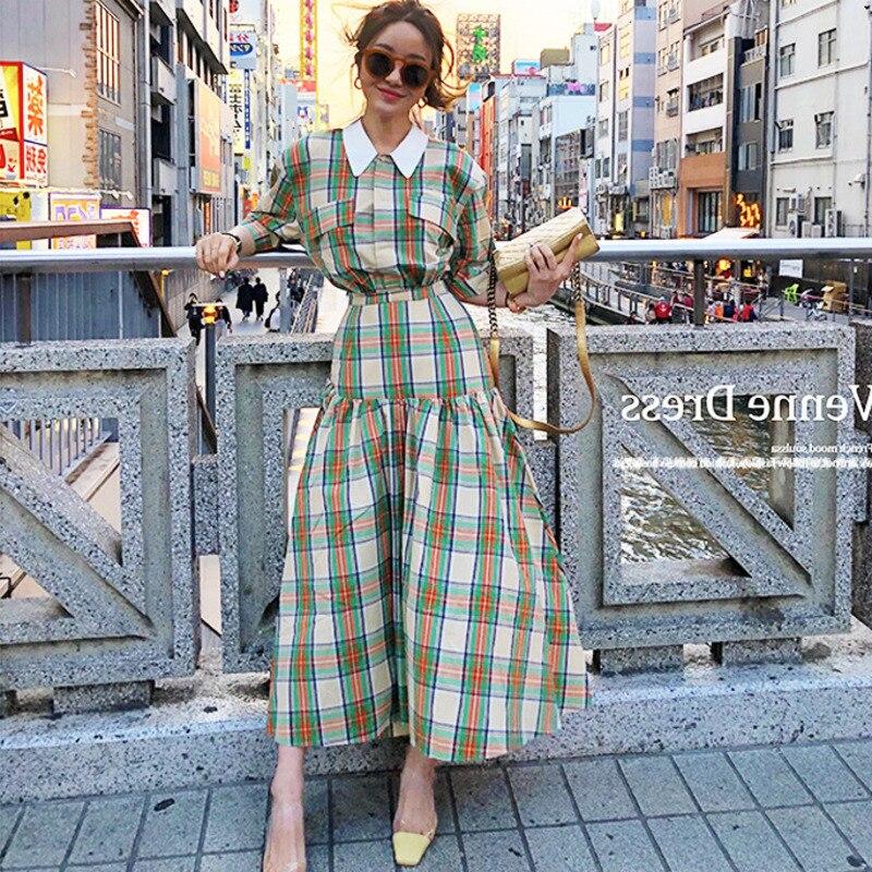 LANMREM 2019 Summer New Fashion Clothes Vintage High Waist White Turn-down Collar Plaid Loose Mid-Calf Vacation Women Dress QH92