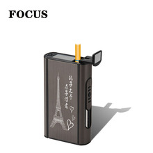 focus High Quality 1 PCS Aluminium Alloy Ejection Holder Portable Automatic Cigarette Case Windproof Metal Box Smoke Boxes