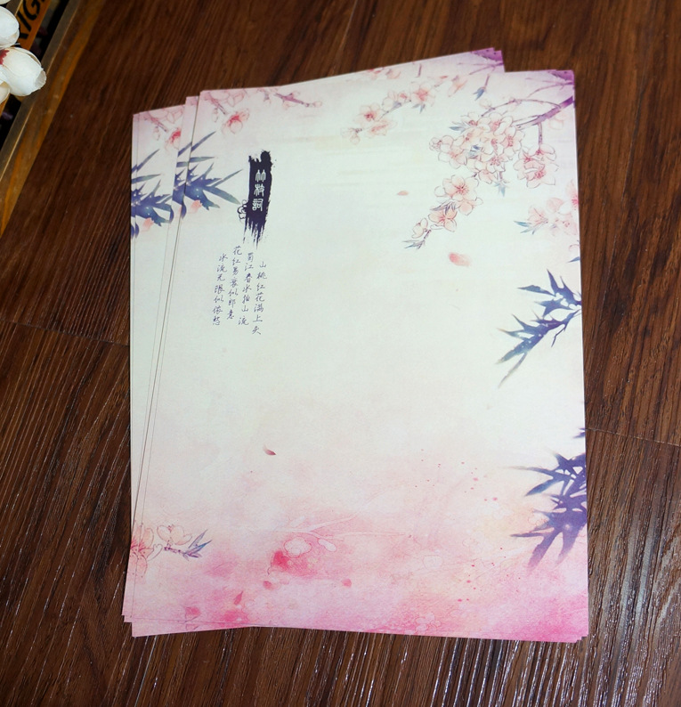 80pcs Chinese Ink Painting Traditional Ancient Classical Sakura Bamboo Letter Pad / Paper  Vintage Gift Collection Souvenir