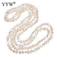 YYW оптовая продажа натуральный розовый жемчуг бисером Длинная нить 3 ряда многослойные ожерелья пресноводная жемчужная цепочка ожерелье же...