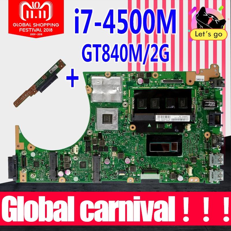 Send board+S551LN REV 2.2 with GT840M 2GB i7-4500 CPU 4GB RAM Motherboard For ASUS S551L S551LB S551LN R553L Laptop mainboard for asus s551lb s551ln s551la r553l mainboard motherboard non integrated gt840m 2gb n15s gt s a2 with i7 4500 cpu sr16z tested